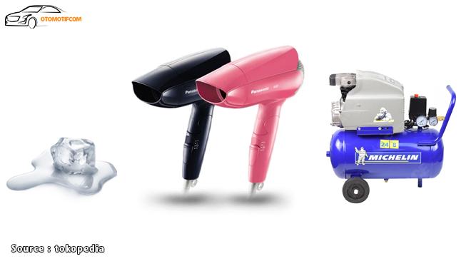 Es Batu, Hair Dryer, dan Kompresor Angin